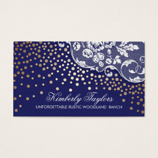 Vintage do marinho dos confetes do laço e do ouro cartão de visitas