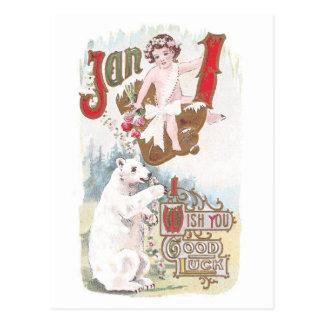 Vintage do urso polar e do ano novo do bebê cartão postal