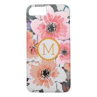 Vintage elegante #30 floral do monograma capa iPhone 8/ 7