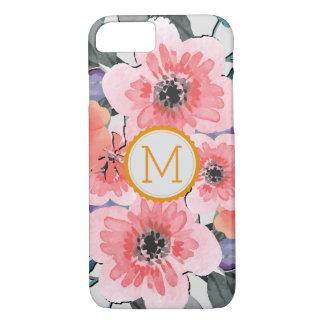 Vintage elegante #31 floral do monograma capa iPhone 8/ 7