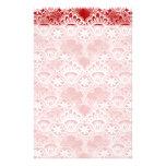 Vintage elegante damasco branco vermelho afligido  papelaria