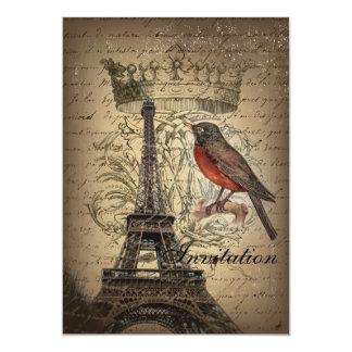 vintage elegante de Paris da torre Eiffel do pisco Convite 12.7 X 17.78cm