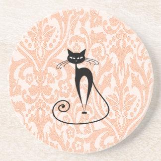 Vintage elegante do damasco do gato preto porta copos de arenito