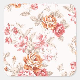 vintage elegante, pêssego claro, rosa, teste adesivo em forma quadrada
