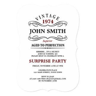 Vintage envelhecido ao aniversário engraçado da convite 12.7 x 17.78cm