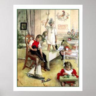 Vintage Escandinávia da manhã de Natal de Carl Poster