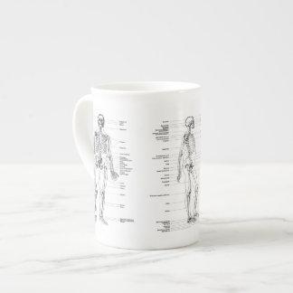 Vintage - esqueleto etiquetado - parte dianteira, xícara de chá