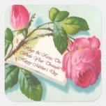 Vintage etiqueta cor-de-rosa e do dia das mães da  adesivo em forma quadrada