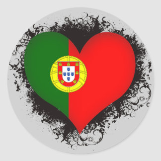 Vintage eu amo Portugal Adesivo Redondo