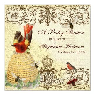 Vintage feliz da abelha, convite de festas do chá