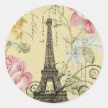 vintage feminino da torre Eiffel de Paris da forma Adesivos Em Formato Redondos