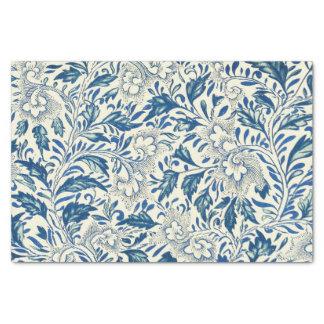Vintage floral azul da antiguidade do teste padrão papel de seda