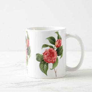 Vintage floral, flores cor-de-rosa da camélia por caneca de café