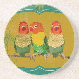 Vintage Golden Love Birds Coaster