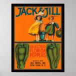 Vintage Jack do KRW & etiqueta da caixa das piment Poster