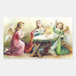 Vintage Jesus com anjos Adesivo Retangular