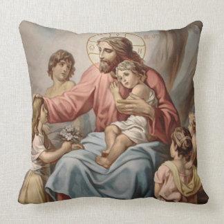 Vintage Jesus com as meninas dos meninos das Almofada