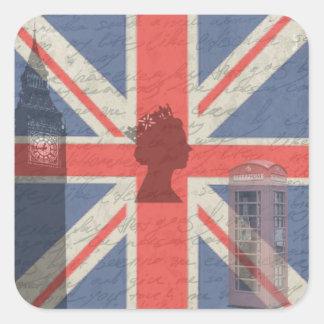 Vintage Londres Adesivo Quadrado