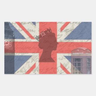 Vintage Londres Adesivo Retangular