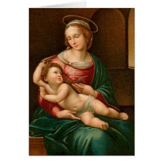 Vintage Madonna e cartão de Natal religioso da