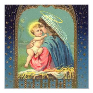 Vintage Madonna e Natal da criança Convite Quadrado 13.35 X 13.35cm