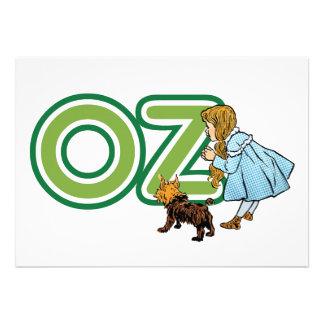 Vintage mágico de Oz Dorothy Toto com letras onça Convite Personalizados