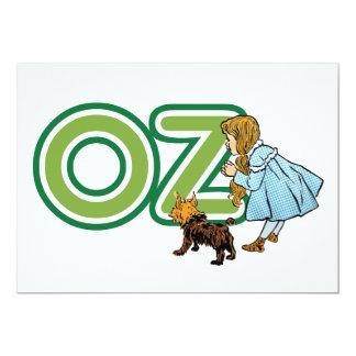 Vintage mágico de Oz, Dorothy Toto com letras onça Convite 12.7 X 17.78cm