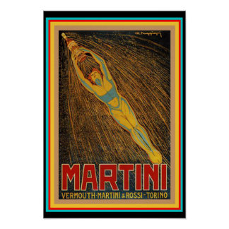 Vintage Martini & poster do art deco de Rossi