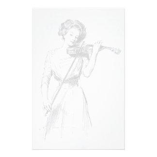 Vintage, mulher que joga os artigos de papelaria