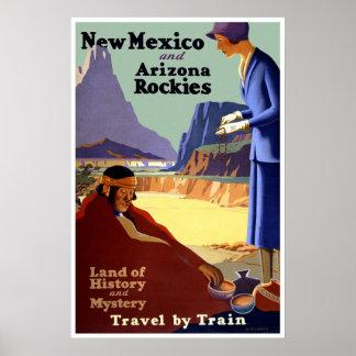 Vintage New mexico & poster de viagens da arizona
