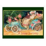 Vintage novo da multa do feliz aniversario do carr cartões postais