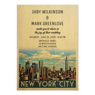Vintage NYC do convite do casamento da Nova Iorque