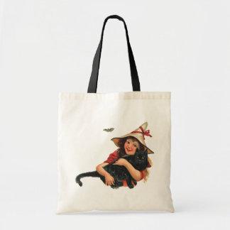 Vintage o Dia das Bruxas, bruxa da menina com gato Sacola Tote Budget