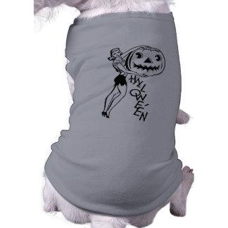 Vintage o Dia das Bruxas Camisa Sem Mangas Para Cachorro