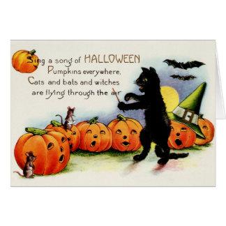 Vintage o Dia das Bruxas, gato preto, cartão das