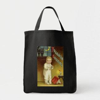 Vintage o Dia das Bruxas, menino Scared com gato Sacola Tote De Mercado