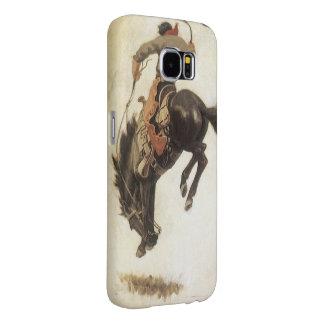 Vintage ocidental, vaqueiro em um cavalo Bucking Capas Samsung Galaxy S6