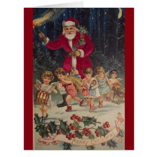 Vintage Papai Noel & cartão de Natal dos anjos da