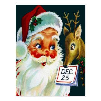 Vintage Papai Noel & cartão do Natal da rena