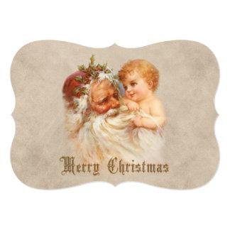 Vintage Papai Noel com criança de sorriso Convite 12.7 X 17.78cm