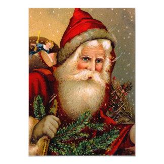 Vintage Papai Noel com vara de passeio Convite Personalizado