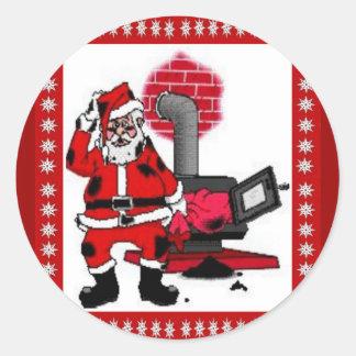 Vintage Papai Noel e um queimador do fogão de Adesivo