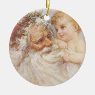 Vintage Papai Noel pelo ornamento da dobra de