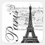 Vintage Paris & etiqueta da torre Eiffel Adesivo Em Forma Quadrada