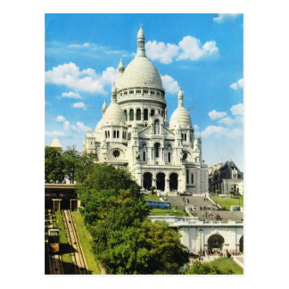 Vintage Paris, Paris Sacre Coeur, Montmatre Cartão Postal
