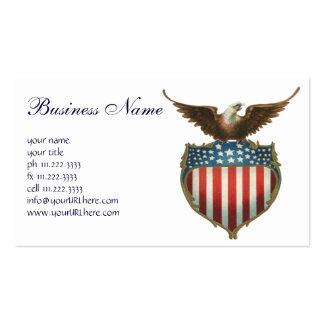 Vintage patriótico, águia americana com bandeira cartão de visita