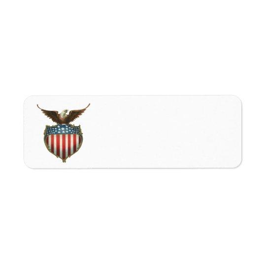 Vintage patriótico, águia americana com bandeira etiqueta endereço de retorno