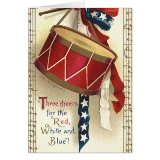 Vintage patriótico, cilindros com notas musicais cartão comemorativo