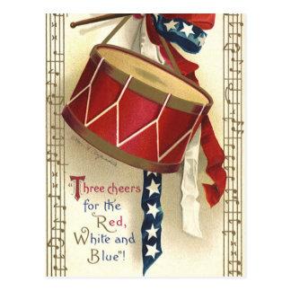 Vintage patriótico, cilindros com notas musicais cartão postal
