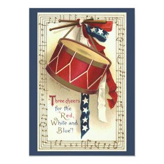 Vintage patriótico, cilindros com notas musicais convite personalizado
